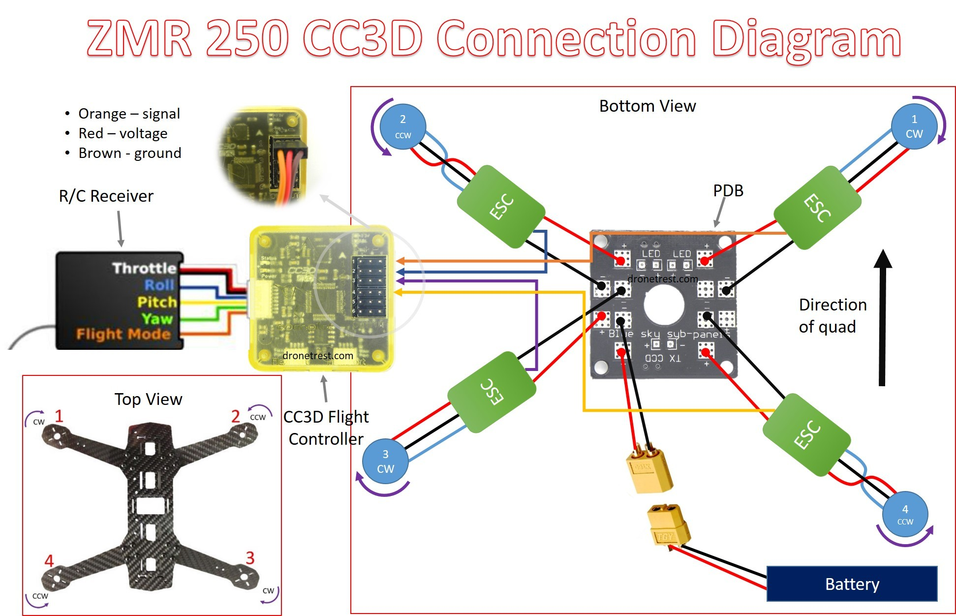 Esc Wiring Diagram Electronic Diagrams Helicopter Qav Zmr 250 Assembly Build Guide Guides Dronetrest Hager 240