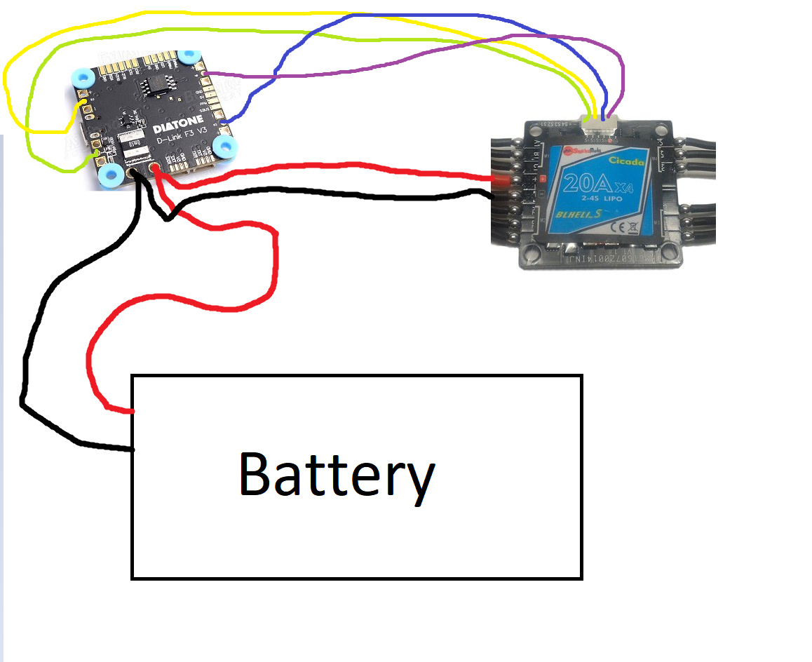 Necessary Wiring For 220 Diy Enthusiasts Diagrams Up A Plug Cicada 4 In 1 Esc To Diatone Fc With Integrated Pdb Help Dronetrest Volt Wire Diagram Electric Motor